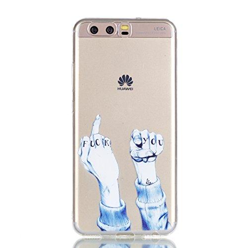 Funda Huawei P10, Mosoris Suave Transparente TPU Silicona Parachoques Tapa para Huawei P10 Delgado Flexibilidad Protectora Caso Anti-Aranazos Espalda Movil Celular Cubierta Absorcion de Impactos Tra7r FUCK