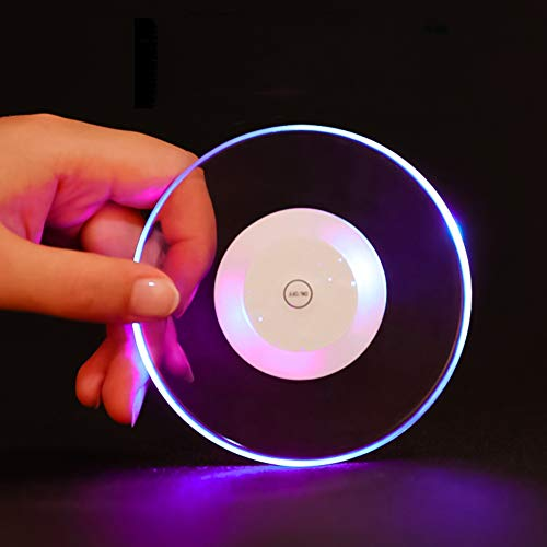 Sizet 3 Packs Wine Coaster Lights, Acrylic LED Drink Coaster Round Barware Party Favor Colorful Light Up Cocktail Coaster]()