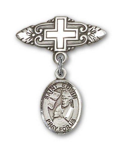 Icecarats Créatrice De Bijoux En Argent Sterling St. Edwin Broche De Badge Charme Avec Une Croix X 3/4