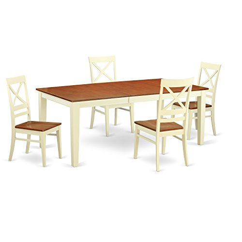 East West Furniture QUIN5-WHI-W 5-Piece Dining Table Set, Buttermilk/Cherry Finish