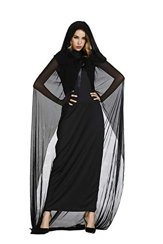Zhitunemi Halloween Costume for Women Wicked Black Witch for Adults 2PC Cloak Hooded Dress