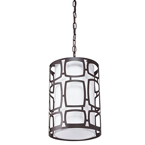 (Aztec Lighting Transitional Olde-Bronze-Finished Steel and Glass 60-watt 2-Light Pendant Light with Fabric Shade and Chain)