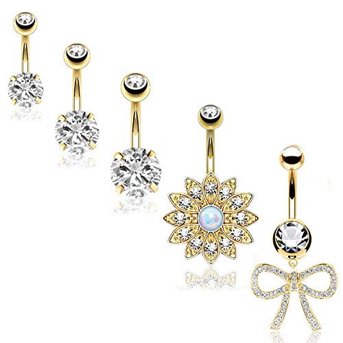 BodyJ4You 5PC Belly Button Rings Flower Bow Large CZ Goldtone Steel Bar 14G Women Navel Piercing