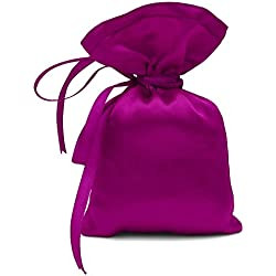 "50 Satin Drawstring Gift Pouch Small Wedding Party Favors Bag - 3"" x 5.5"" inches Baby Shower Thank You Pouches- Magenta Pink"