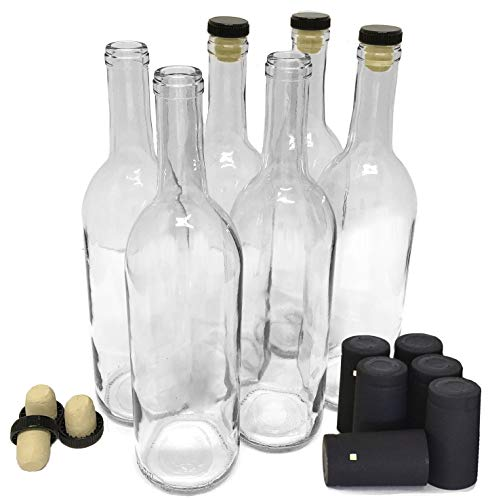 Wine Bottles with Corks & Shrink Capsules, Clear, 750ml - Pack of 6