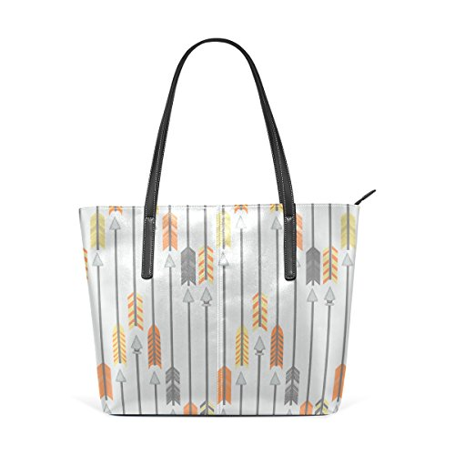 COOSUN Amarillo-naranja y gris Las flechas de la PU de cuero bolso monedero y bolsos de la bolsa de asas para las mujeres Medio muticolour