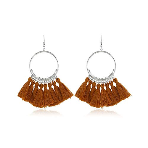 Tassel Earrings For Women Ethnic Big Bohemia Fashion Jewelry Trendy Cotton Rope Fringe,Silver Jiang ()