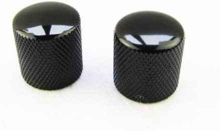 Set of 2 Black Sped Knobs for Electric Guitar and Bass