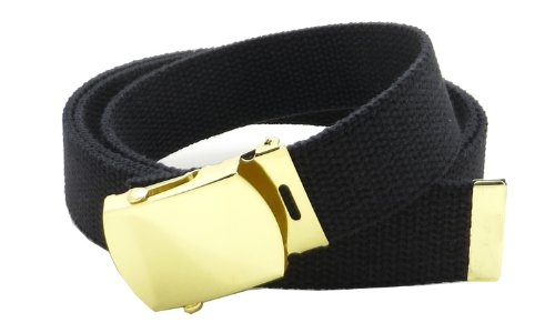 Canvas Web Belt Military Style with Brass Buckle and Tip 54' Long Many Colors (Black)