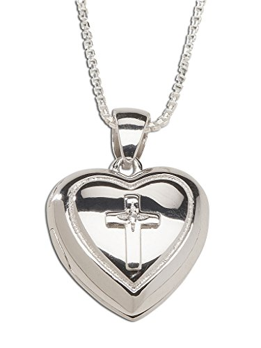 Children's Sterling Silver First Communion Cross Heart Locket Necklace with White Sapphire Accent, 14