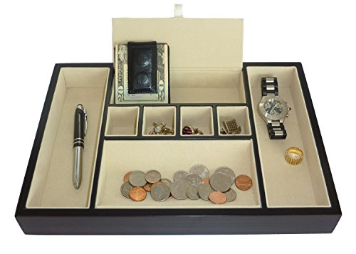 Ebony Walnut Wood Valet Tray Desk Dresser Drawer Coin Case Catch-all for Keys, Phone, Jewelry, Watches, and - Deluxe Valet Tray