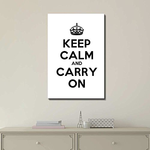 Keep Calm and Carry On Stretched White