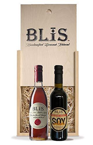 BLiSBox with BLiS Bourbon Barrel Maple Syrup (375ml) & BLiS Hardwood Smoked Soy Sauce (375ml)