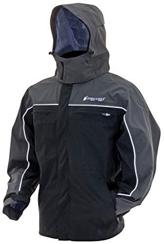 (Frogg Toggs Pilot II Cruiser Rain Jacket, Black/Charcoal Gray, Size Large)