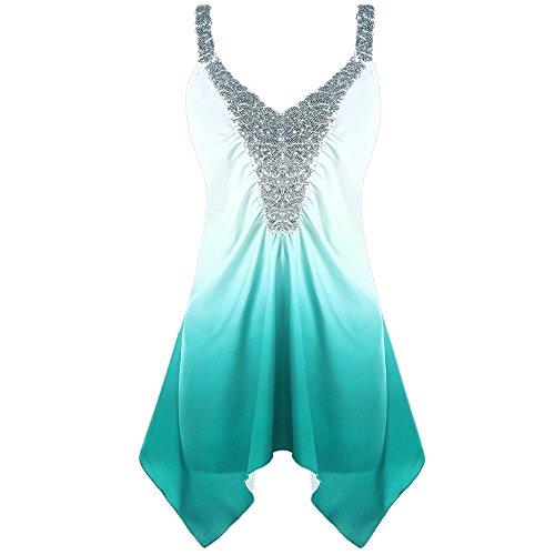 (Peize Clearance Fashion Women Casual Plus Size Cami Tops, Ladies Girls Sequins Ombre V-Neck Print Tank Tops Blouse Vest (XL, GN))