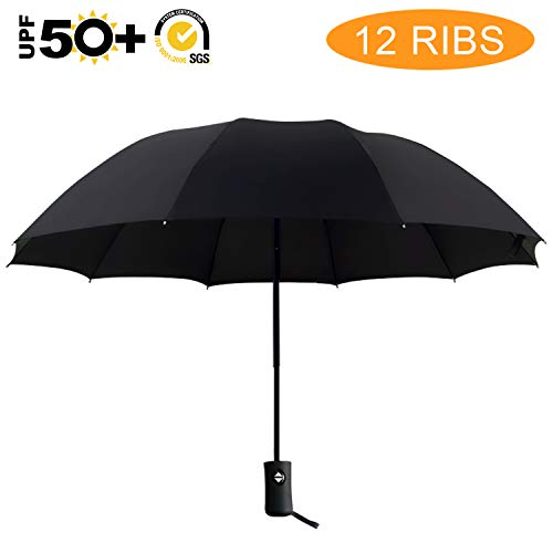 ABCCANOPY 12Ribs Umbrellas Rain&Wind Teflon Repellent Umbrellas Sun Protection with Black Glue Anti UV Coating Travel Auto Folding Umbrella, Blocking UV 99.98% (For Wind Umbrellas Best)