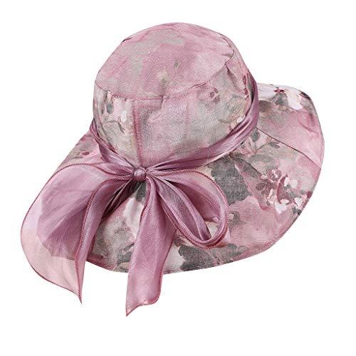 hositor Kentucky Derby Hat, Women's Organza Church Kentucky Derby Fascinator Bridal Tea Party Wedding Hat Dark Purple