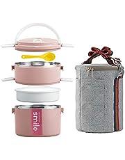 YBOBK HOME Bento Box, roestvrij staal, geïsoleerde magnetronveilige stapelbare bento lunchbox container met zak en lepel voor volwassenen (roze)
