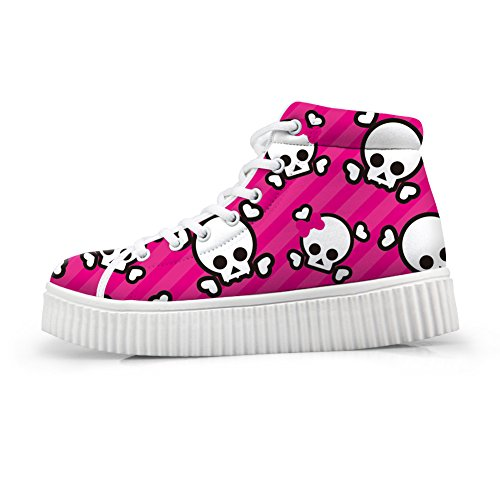 Bigcardesigns Women Fashion Skull Design High-top Skate Shoes Outdoor Comfortable Flat Style-a4 Pink hHHj1GfU