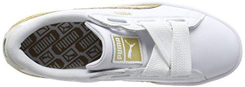 Damen Puma White Heart Weiß Sneaker Glitter gold Basket qqrdH
