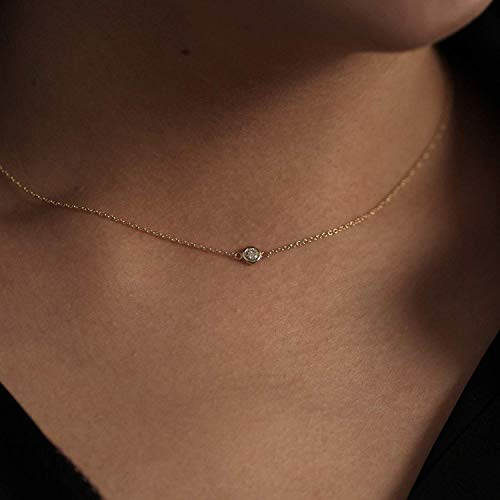 (Diamond Choker Necklace, Minimalist Necklace, Diamond Necklace.03 ct .05 ct .07 ct .10 ct Natural Diamond Choker, 14k Gold Choker Diamond Necklace)
