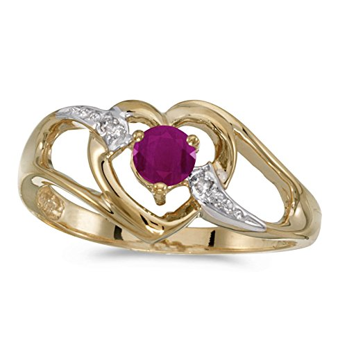 - FB Jewels 14k Yellow Gold Genuine Red Birthstone Solitaire Round Ruby And Diamond Heart Wedding Engagement Statement Ring - Size 9 (1/4 Cttw.)