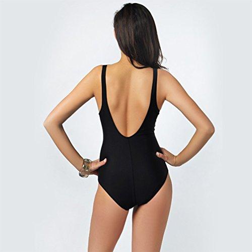 Klassisch Fashion Push Up Einteilige Bikinis Damen Schwarz