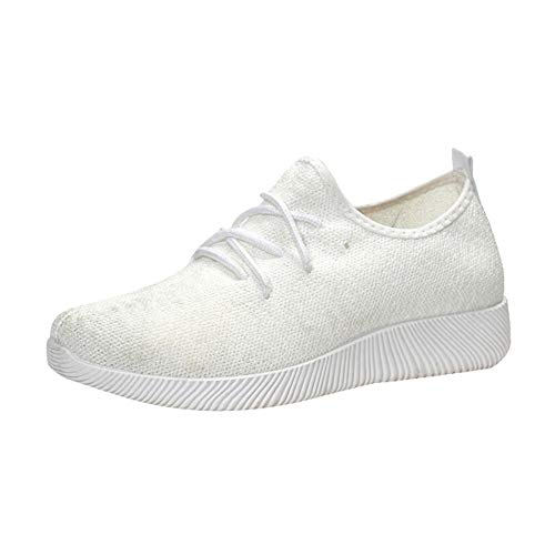 Longra Women Breathable Shoes,Ladies Girl Shallow Mouth Shoes Flying Woven Candy Color Student Net Shoe White