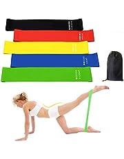 FeiLuo Motståndsband [set med 5], naturlig latex fitness ögla band med 5 motståndsnivåer, bärbar träning stretchband för yoga pilates hem gym, bärväska ingår