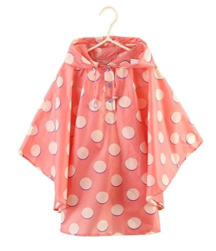 Kids Stylish Rain Poncho Waterproof Rain Jacket Coat for Girls Boys (Pink dots, L)