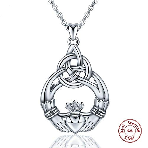 (Nattaphol 100% 925 Sterling Silver Celtics Knot Claddagh Design Pendant Necklace Women Fashion Jewelry Love Collar Surprise Gift)
