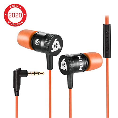KLIM Fusion Earbuds with Mic Audio – Long-Lasting Wired Ear Buds 5 Years Warranty – Innovative in-Ear with Memory Foam Earphones with Microphone – 3.5mm Jack – New Earphone 2019 Version – Orange