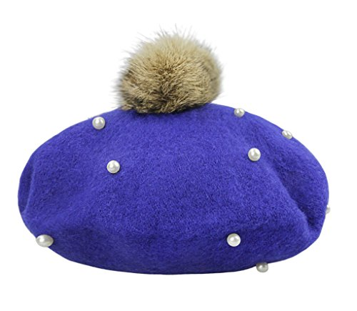 French Artist Costume For Kids (Kids Girls Fashion Pompom French Artist Style Beret Hat Winter Cozy Warm Fancy Dress Party Costume Headwear Beanie Cap for 3-6 Yrs)