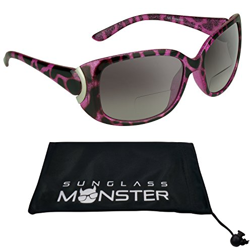 Trendy Bifocal Sunglasses 2.50 for Women with Sexy Pink Cheetah Animal Pattern Frames and Chrome Accent. Free Microfiber Cleaning Case (Jackie Bifocal Sunglasses)