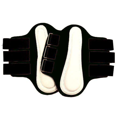 Intrepid International Splint Boots with White Leather Patches, Medium, Black