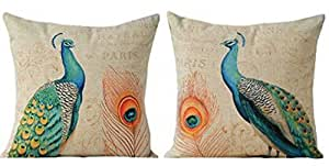 "The Animal Beautiful peacock Throw Pillow Case Cushion Cover Decorative Cotton Blend Linen Pillowcase for Sofa 18 ""X 18 "" ( Beautiful peacock 2 sets)"