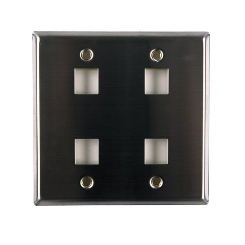 Hellermann Tyton FPDGQUAD-SS Dual Gang 4 Port Flush Mount Faceplate, Stainless Steel