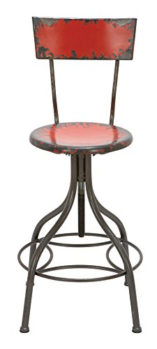 Deco 79 Metal Bar Chair, 41 by 18-Inch, Red