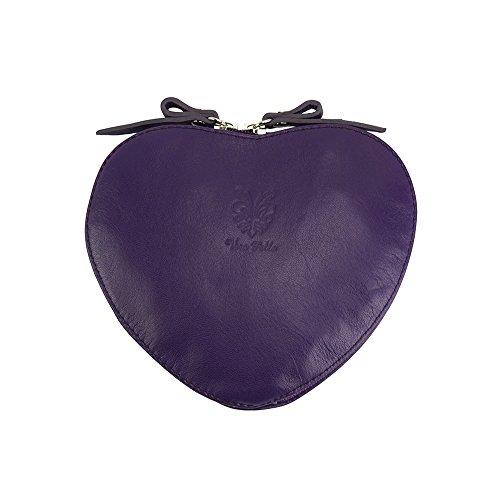 Bolso bandolera Cuore de cuero suave de becerro - 403 - Bolsas de piel Púrpura