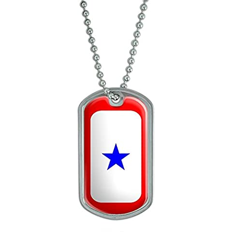 Graphics and More Blue Star Flag One 1 War Mother Service Military Dog Tag Keychain (d2245)