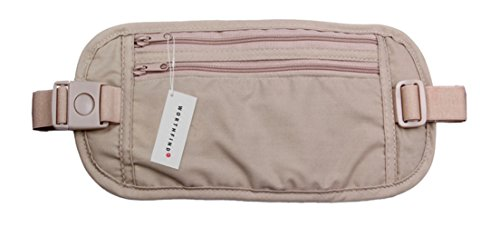Price comparison product image Alaska2You Waist Bag Travel Waist Pouch Belt Money Wallet Bags Passport Holders Change Safe Strap, Brown