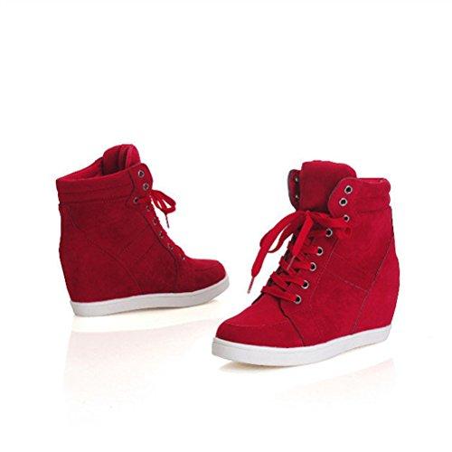 T & Mates Donna Casual Punta Arrotondata Alta Allacciata Nascosta Cuneo Nubuck Moda Sneaker Rosso