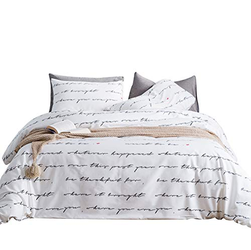 (YuHeGuoJi 3 Pieces Duvet Cover Set 100% Cotton Queen Size White and Black Love Letter Print Bedding Set with Zipper Ties 1 Duvet Cover 2 Pillowcases Luxury Quality Soft Breathable Hypoallergenic)