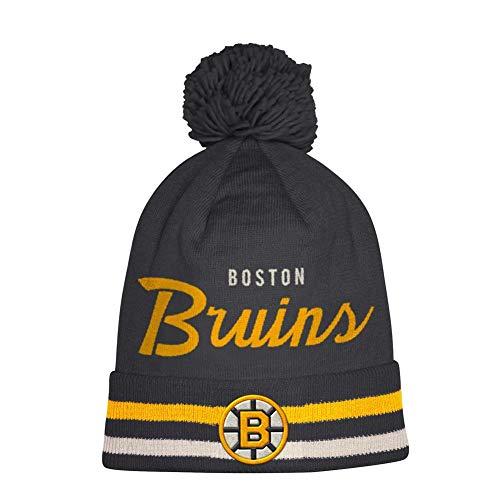 adidas Mens Boston Bruins Script Front Cuffed Knit Hat with Pom (Boston Bruins Pom Beanie)