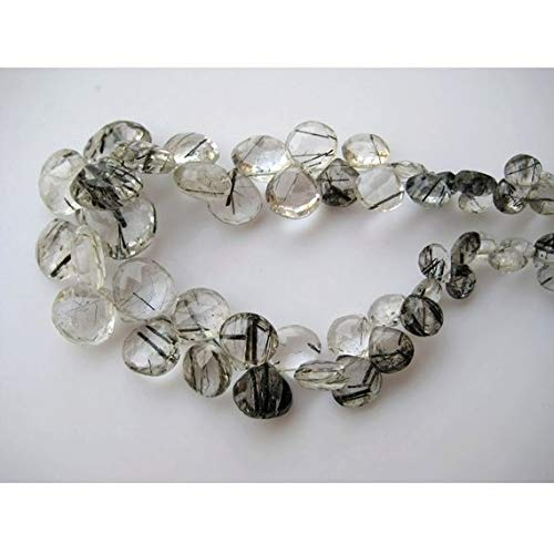Super Quality Gemstone Beautiful Jewelry Rutile Quartz Briolettes, Heart Briolette, Faceted Beads, AAA Gems, Approx 12mm To 6mm Each, 50 Pieces, 9 Inch Full Strand Code-JP-3810   B07KVVPDXD