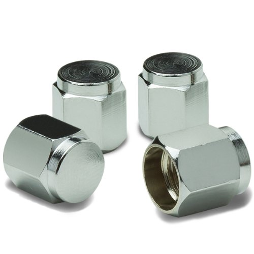 (Hexagon Style Anodized & Polished Aluminum Silver Chrome Tire Valve Stem Caps (Pack of 4))