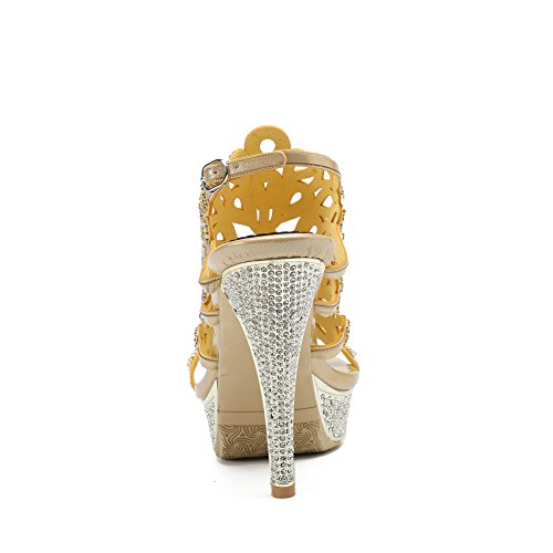 Prom Mid Gold Zapatos Pavo Prom Señoras de Low Mujeres Imitación Heel Party High NVXIE Tamaño Sandalias Real Diamante Strappy U6E4qwanH