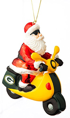 Team Sports America NFL Green Bay Packers Glass Santa Scooter Ornament, Small, Multicolored