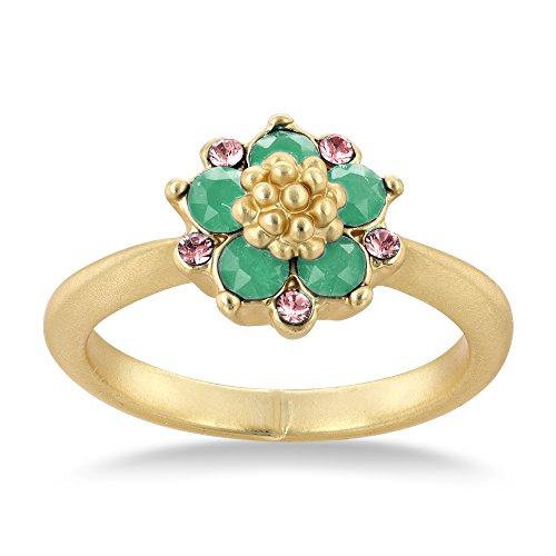 Collection Bijoux 14K Matte Yellow Gold Plated Blue Opal and Light Rose Flower Ring, Made with Swarovski Crystals ()