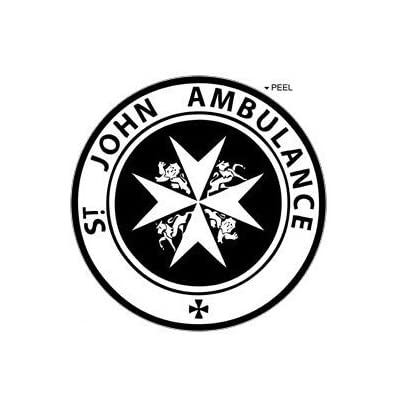 St John Ambulance - Circle - Black - Window Bumper Locker Sticker: Automotive